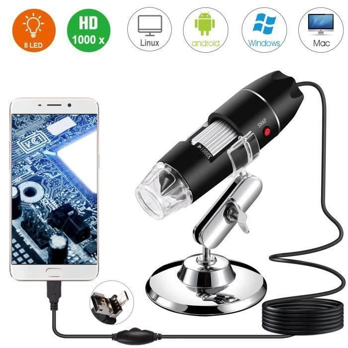 Microscope numérique USB, Endoscope de grossissement 40X-1000X Portable, Microscope Digital 8 LED pour Windows 7-8-10 Mac Linux sous