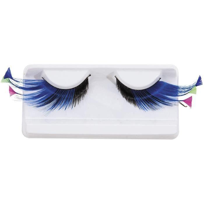 Accessoires de maquillage et outils Generique - Faux Cils Longs Bleus avec Plumes Fluo Adulte 23066