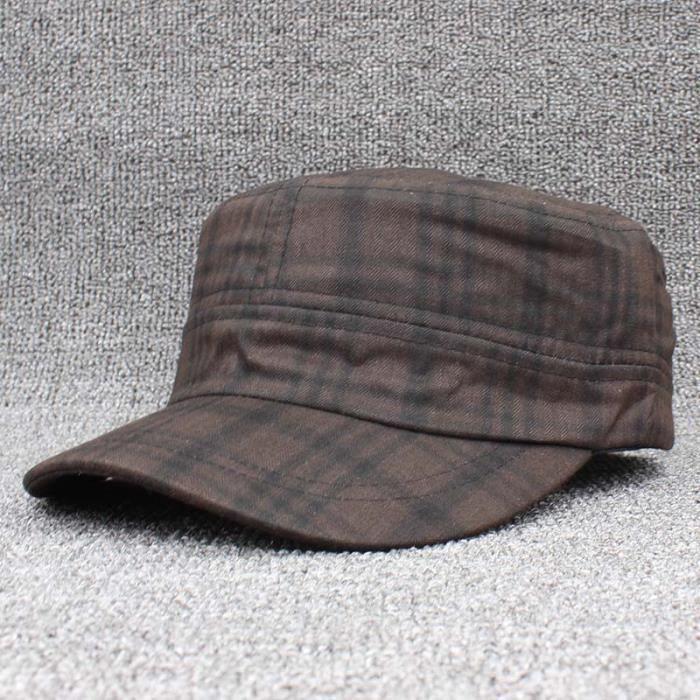 ALTOBEFUN chapeau militaire pour femmes, casquette Vintage classique, casquette militaire pour femme Marron Adjustable(56-59cm)