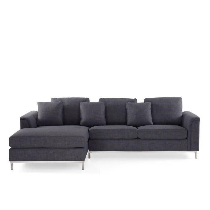 Canapé angle à droite en tissu gris Oslo