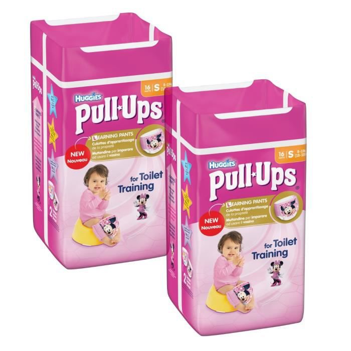 Lot de 2 HUGGIES Pull-Ups Girl Taille 4 - De 8 à 15kg - 16 couches