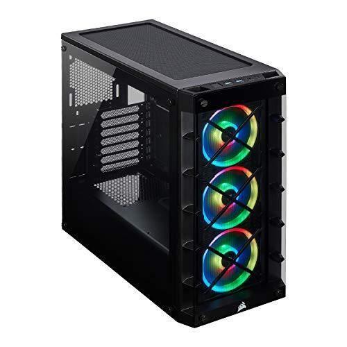 Corsair iCUE 465X RGB Boîtier gaming Moyen-Tour ATX en Verre Trempé (Panneaux Avant et latéral en Verre Trempé, Trois ventilateurs