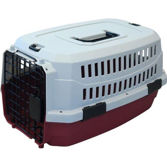 M-PETS Caisse de transport Viaggio Carrier XS - 48,3x32x25,4cm - Bordeaux et gris - Pour chien et chat