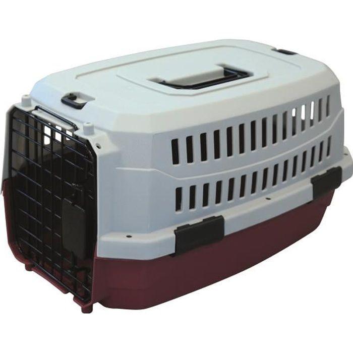M-PETS Caisse de transport Viaggio Carrier M - 68x47,6x45cm - Bordeaux et gris - Pour chien