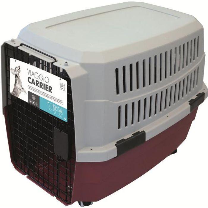 M-PETS Caisse de transport Viaggio Carrier L - 81,3x56x58,5cm - Bordeaux et gris - Pour chien