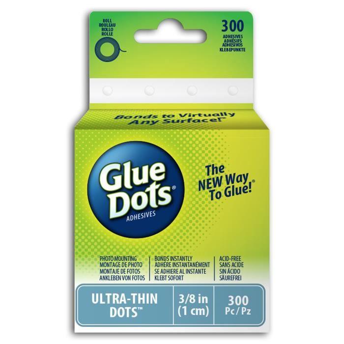 Glue Dots® Rouleau de 300 pastilles de colle - ultra fin - 10mm
