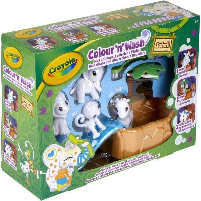 Crayola - Color'N'Wash - Mes Animaux à Colorier - Coffret Safari - Dessiner - Laver - Recommencer