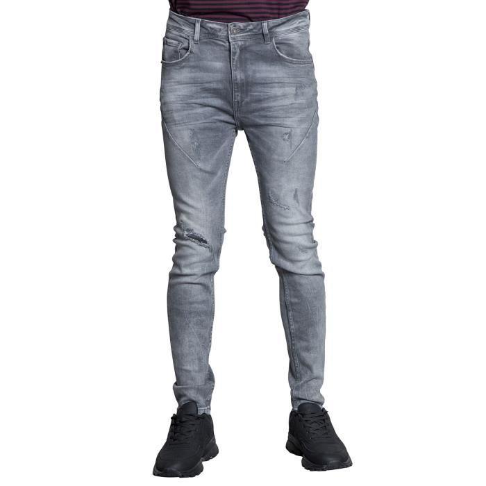 DEELUXE Jeans skinny effet destroy EBONY Grey Used