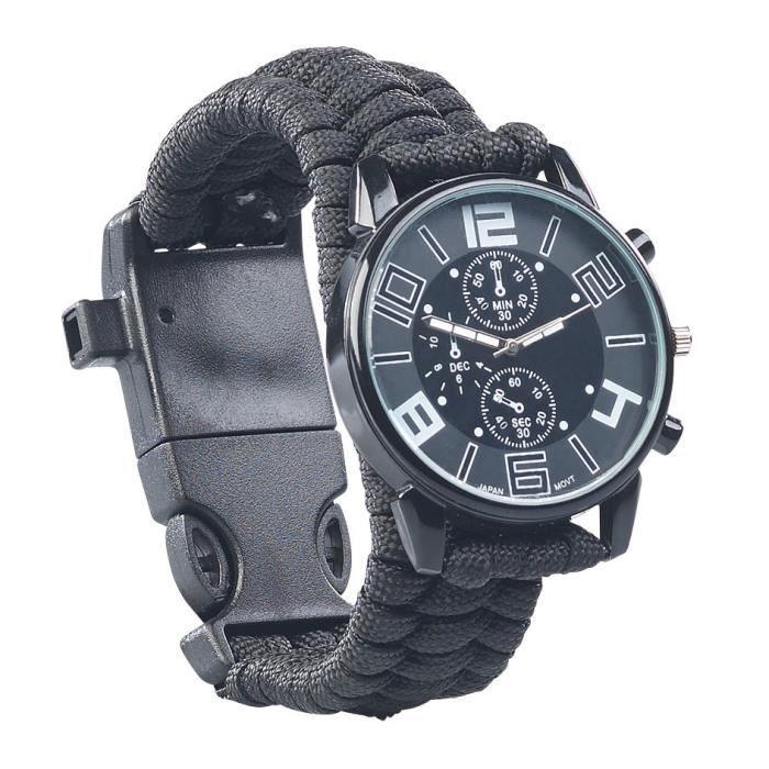 Montre de survie 5 en 1 avec bracelet en paracorde