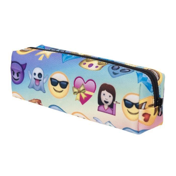 TRIXES Belle Trousse à Crayons Porte-Cosmétiques à Fermeture avec Emojis Multicolores