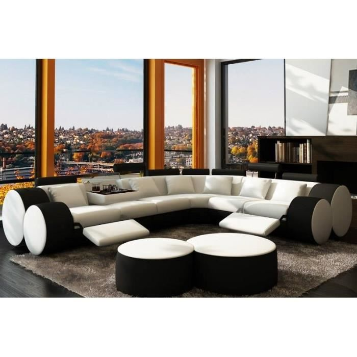 canap d 39 angle design relax blanc et noir cuir achat. Black Bedroom Furniture Sets. Home Design Ideas