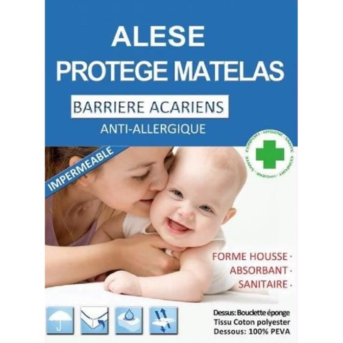 PROTEGE MATELAS MOLLETON PVC et ANTI-ACARIEN 140x190 cm