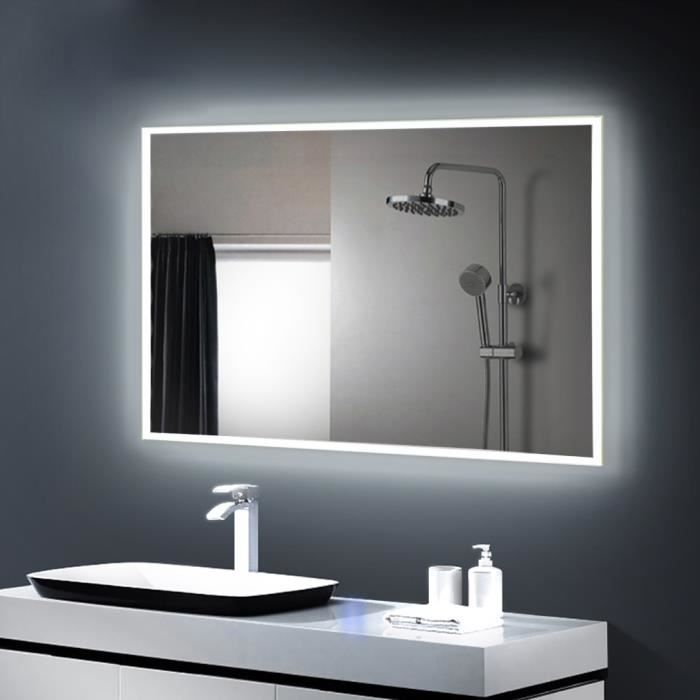 anten miroir led lampe de miroir clairage salle de bain miroir lumineux verre tremp garantie. Black Bedroom Furniture Sets. Home Design Ideas