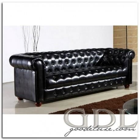 canap chesterfield cuir massif unis brillant achat vente canap sofa divan soldes. Black Bedroom Furniture Sets. Home Design Ideas