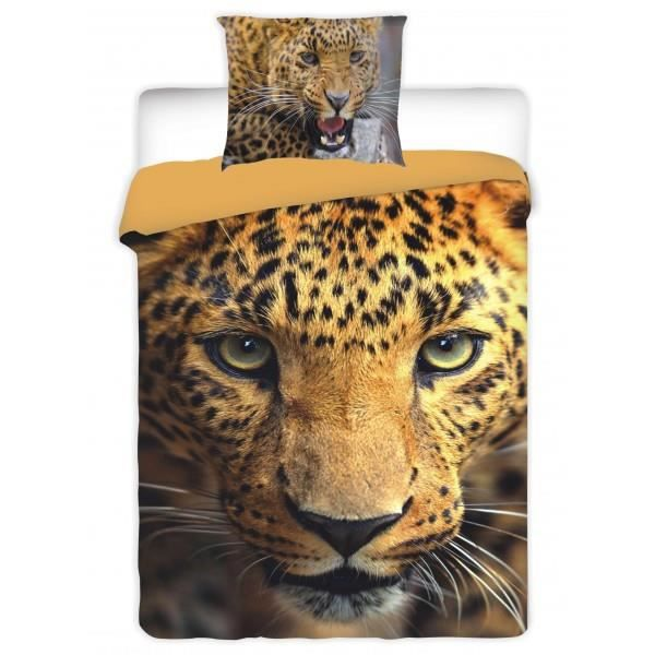 parure de lit leopard safari achat vente parure de. Black Bedroom Furniture Sets. Home Design Ideas