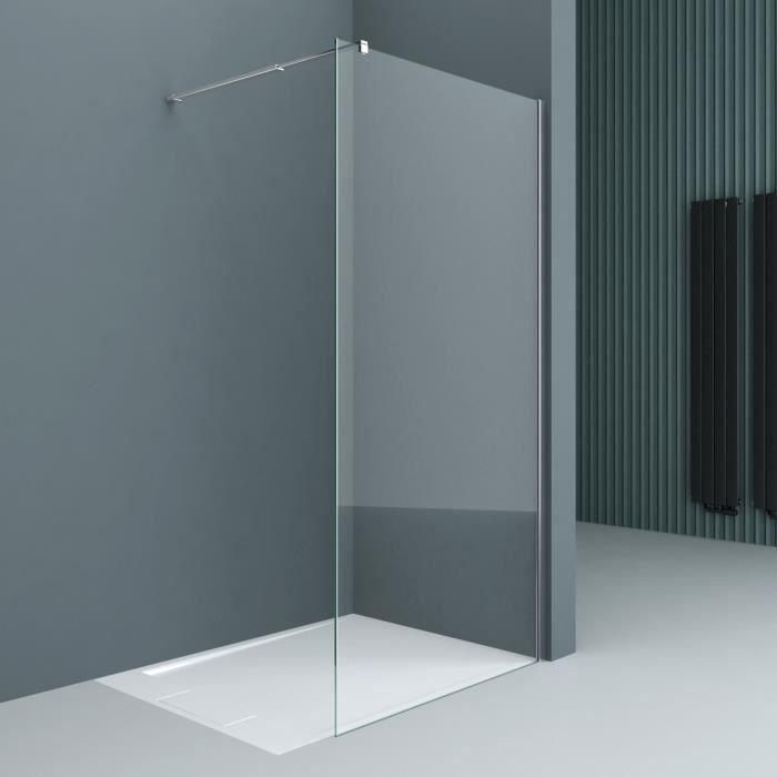 Paroi de douche pare-douche verre de securite transparent 10mm barre de stabilisation rectangulaire douche a l italienne Bremen2 130x200cm