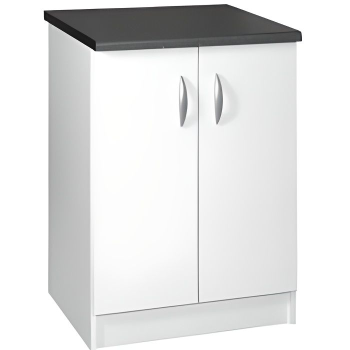 meuble cuisine bas 60 cm 2 portes oxane blanc achat. Black Bedroom Furniture Sets. Home Design Ideas