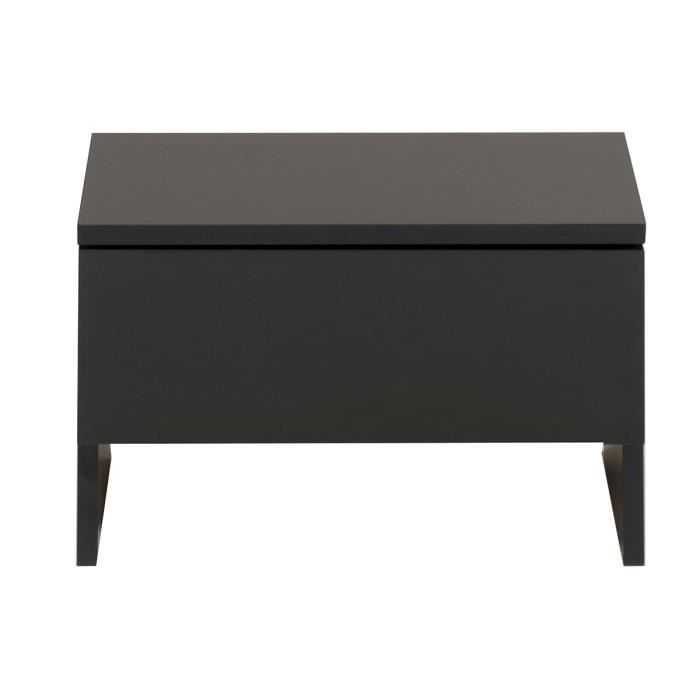 Table de chevet 1 tiroir noir carl achat vente chevet for Table de chevet noire
