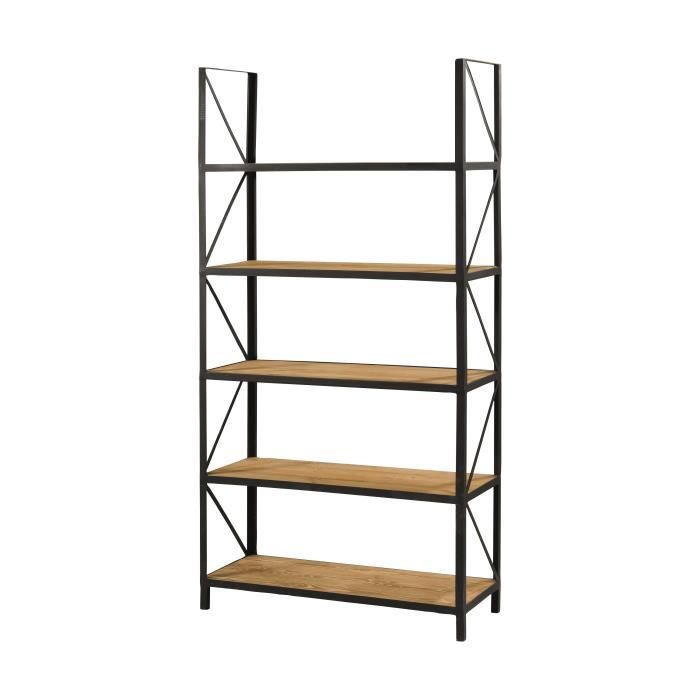 etagere bois metal. Black Bedroom Furniture Sets. Home Design Ideas