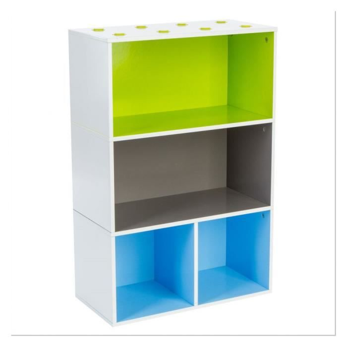 etagere 4 cases bleu multicolor achat vente armoire de. Black Bedroom Furniture Sets. Home Design Ideas