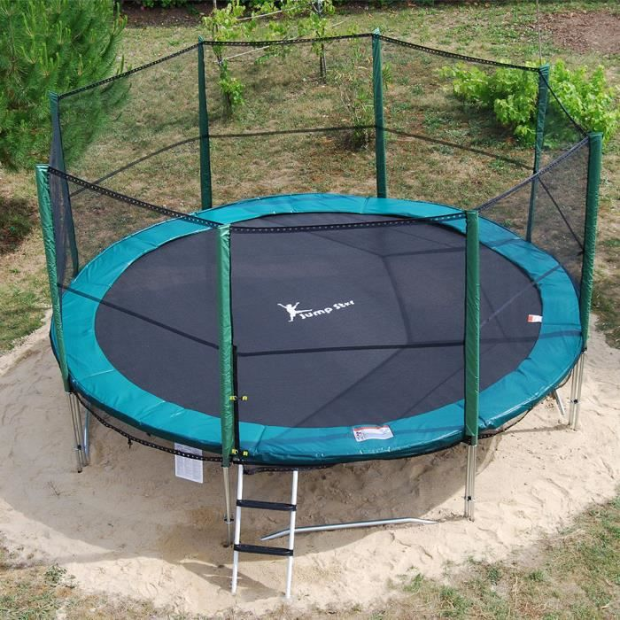 trampoline jumpstar 430cm avec filet en cade achat vente trampoline soldes d t. Black Bedroom Furniture Sets. Home Design Ideas
