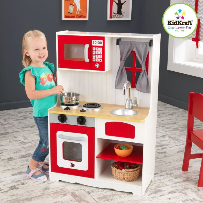 kidkraft cuisine de campagne enfant en bois rouge achat vente dinette cuisine cdiscount. Black Bedroom Furniture Sets. Home Design Ideas