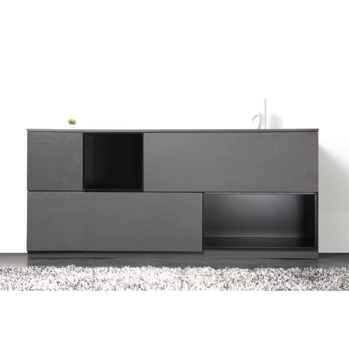 Miliboo buffet design noir et gris modulable achat for Miliboo buffet