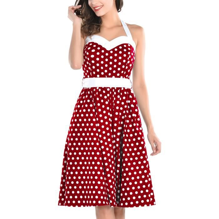 robe style rockabilly annee 50 a pois rouge rouge achat vente robe cdiscount. Black Bedroom Furniture Sets. Home Design Ideas