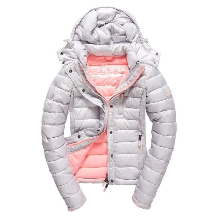 3866cab02dfc Vêtements femme Blousons Superdry Fuji Slim Double Zip Hooded Gris ...