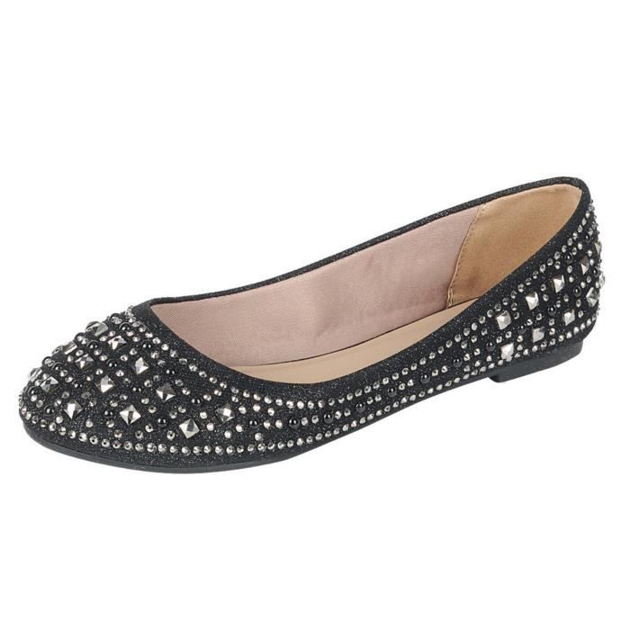Sparkle Bead Crystal Embellished Metallic Dress Ballet Flat F2EAE Taille-38 IyUuVX8jef