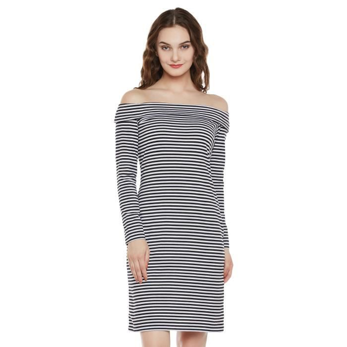 Womens Black And White Bardot Full Sleeve Striped Mini Layered Bodycon Dress SX0DP Taille-40