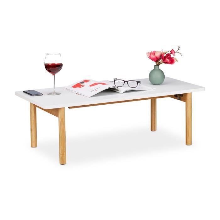 FAMIROSA Table Basse Haute Brillance Blanche