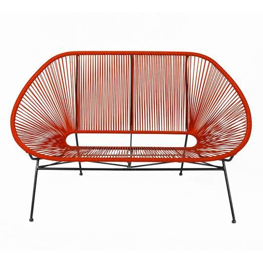 Canap acapulco rouge 2 places achat vente fauteuil for Canape rouge 2 places