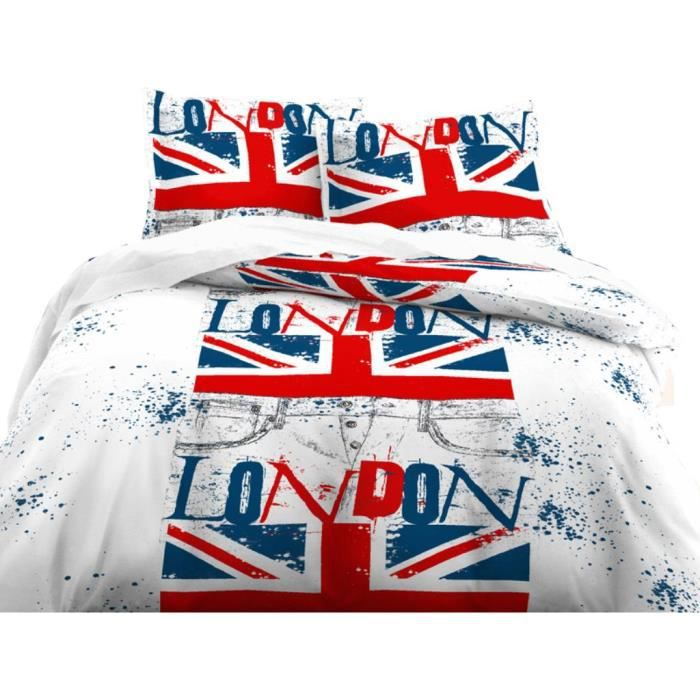 parure housse de couette 140x200 cm london flag achat vente parure de couette cdiscount. Black Bedroom Furniture Sets. Home Design Ideas