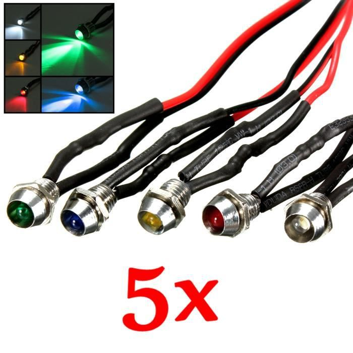 5x 6mm 12V Voiture Voyant LED Feu Borne Lumière Compteur Tableau Bord Dash Lght - Achat / Vente ...