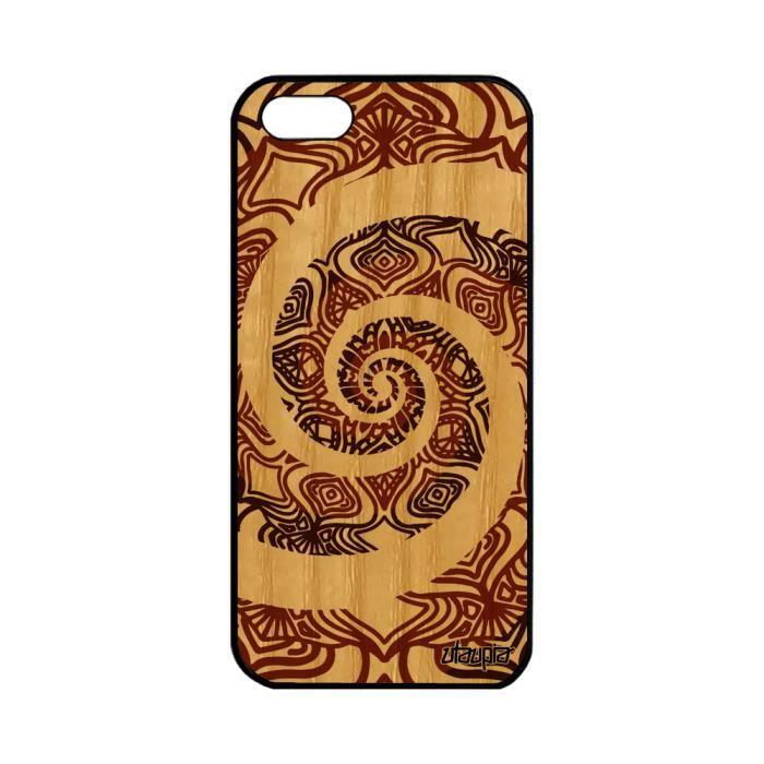 Coque en bois silicone iPhone 5 5S SE Mandala de p