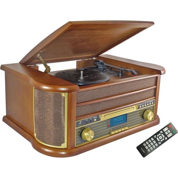 INOVALLEY RETRO29-E Chaîne Hifi vinyle style rétro Bluetooth - Lecteur CD / K7 Audio / FM / USB