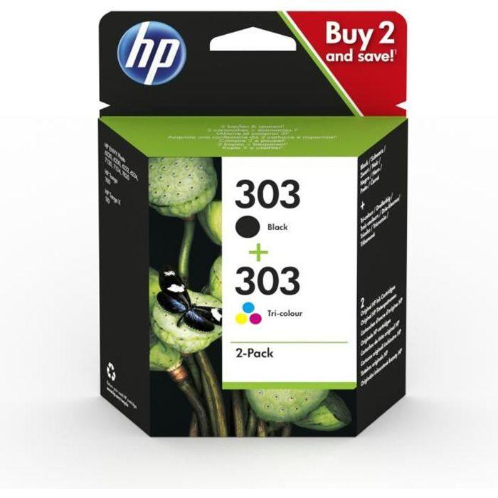 Pack de 2 cartouches authentiques d'encre noire/trois couleurs HP 303 (3YM92AE)