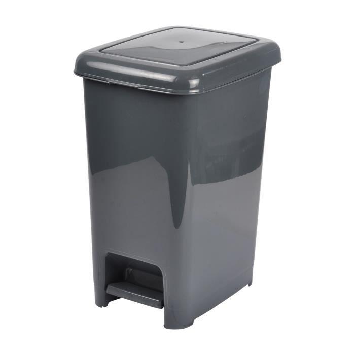 HOMEA Poubelle à pédale 40L - 28,5 x 39 x 48,5 cm - Anthracite