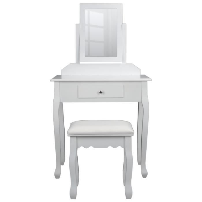 coiffeuse classique en bois paulownia blanc tabouret rev tu de tissu blanc l 71 cm. Black Bedroom Furniture Sets. Home Design Ideas