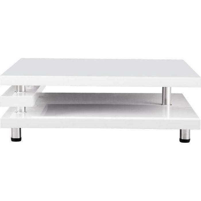 RENATO Table basse style contemporain blanc laqué - L 100 x l 100 cm