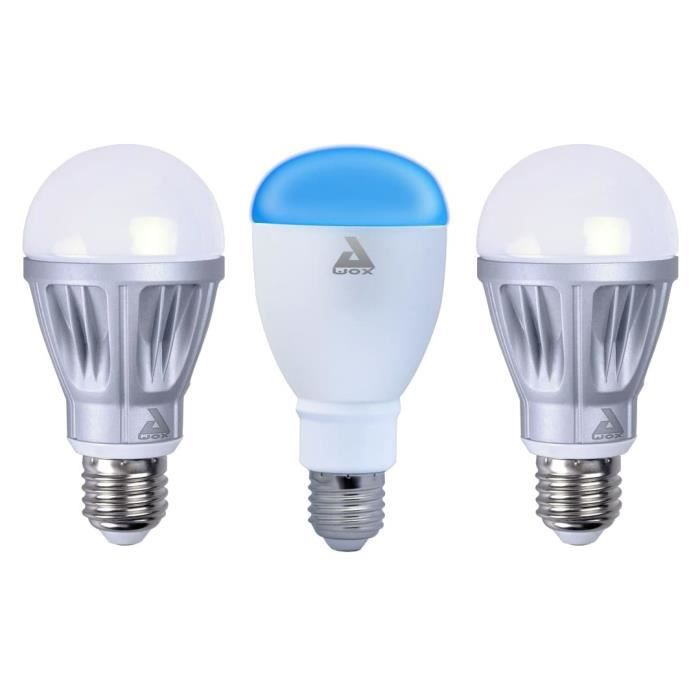 AWOX Lot de 2 Ampoules blanches dimmables E27 + 1 ampoule couleur E27 LED SmartLIGHT