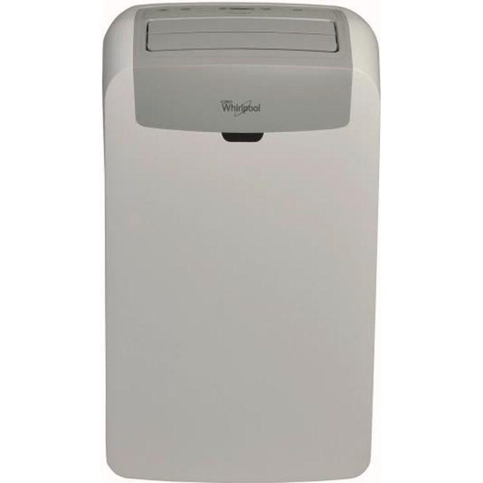 WHIRLPOOL PACW12CO - Climatiseur électrique mobile - 3500 watts - 12000 Btu - Classe A - 6ème sens