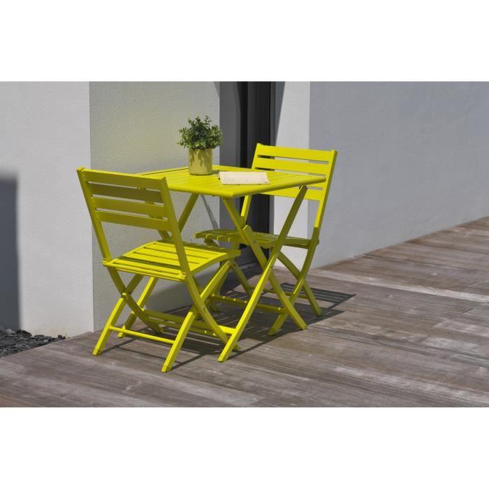 DCB GARDEN Guéridon pliant Marius 70 x 70 cm + 2 chaises pliantes en aluminium - Jaune