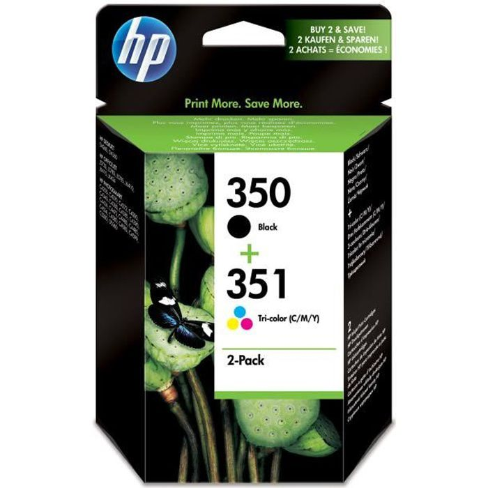 HP 350/HP 351 pack de 2 cartouches d'encre noire/trois couleurs authentiques pour HP Photosmart C4380/C4472/C4580/C5280 (SD412EE)