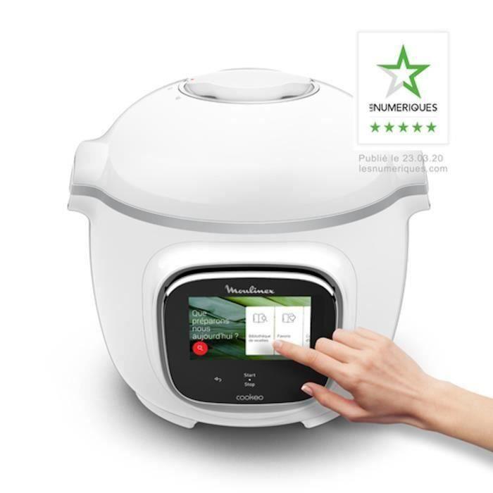MOULINEX CE901100 Multicuiseur intelligent Haute pression COOKEO TOUCH - Ecran tactile - 250 recettes - 13 modes de cuisson - Blanc