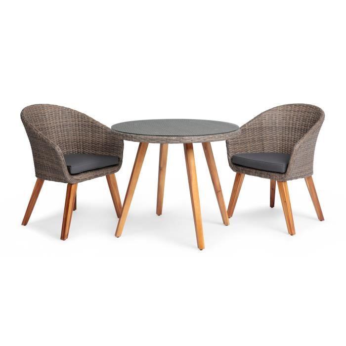 Ensemble repas de jardin 2 personnes - Table ronde Diam 90 cm en Acacia FSC, aluminium et résine tressée - plateau en verre trempé +