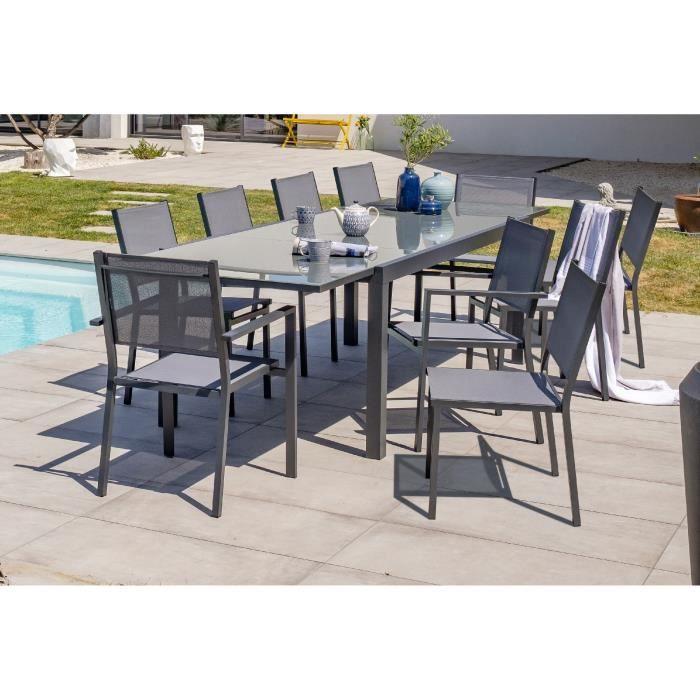 DCB GARDEN Table Tolede-TB300 + 8 chaises Tolede-CH + 2 fauteuils Tolede-FT - Noir