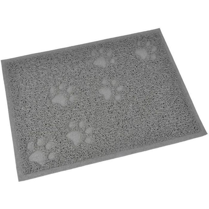 Tapis de litière PVC rectangle - 30x40 cm - Gris - Pour chat