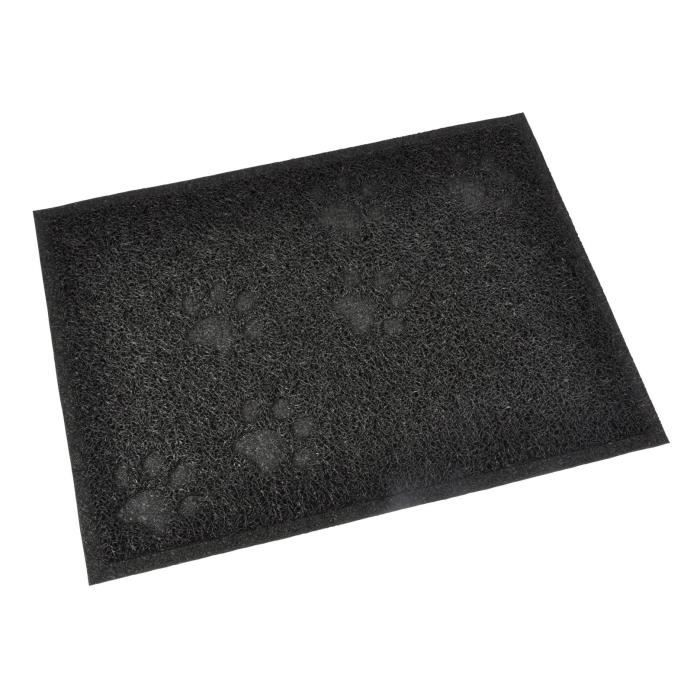 Tapis de litière PVC rectangle - 30x40 cm - Noir - Pour chat